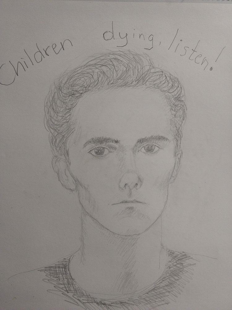 Listen to the Children, 2018, pencil, 23″x17″