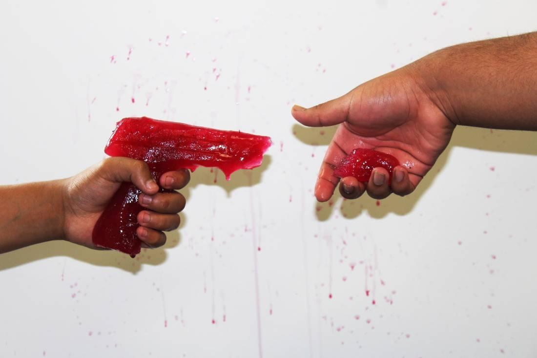 Red Ice Gun Sculpture
