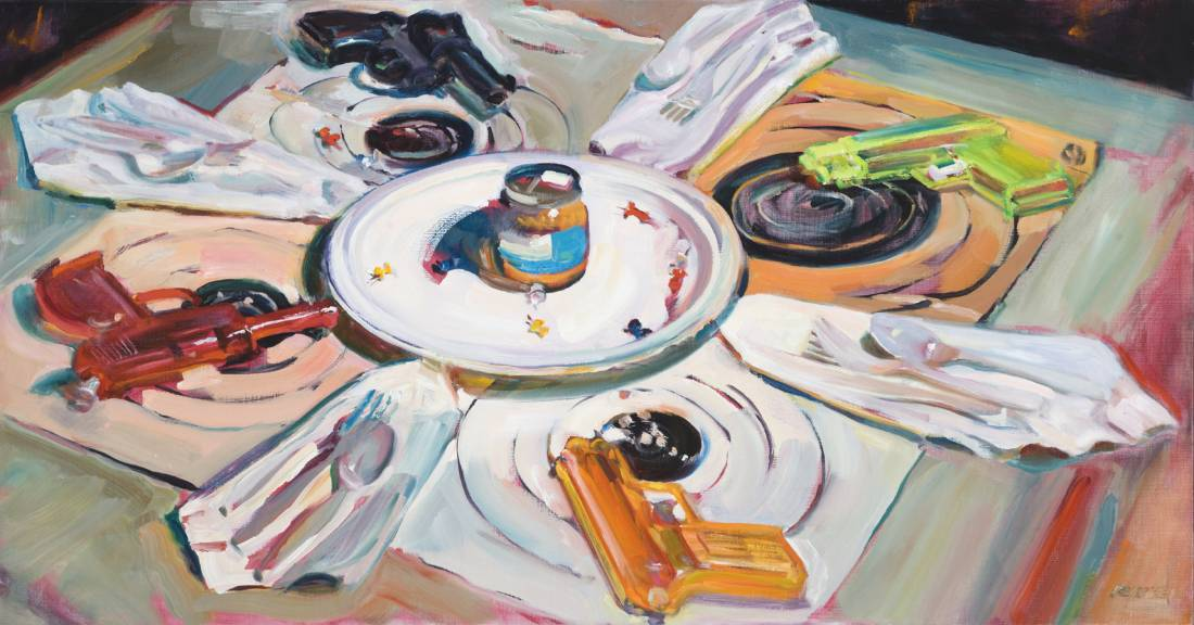 Just Once, 1996, oil paint on linen, 25″ x 45″-1