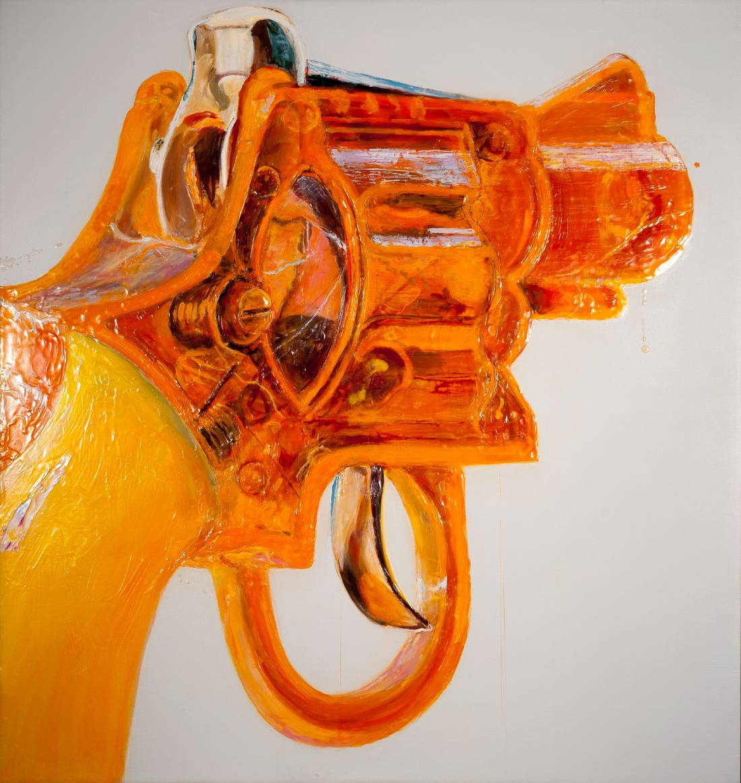"Orange Cap Gun I, 2014, oil and encaustic, 52″ x 50″""  -1"
