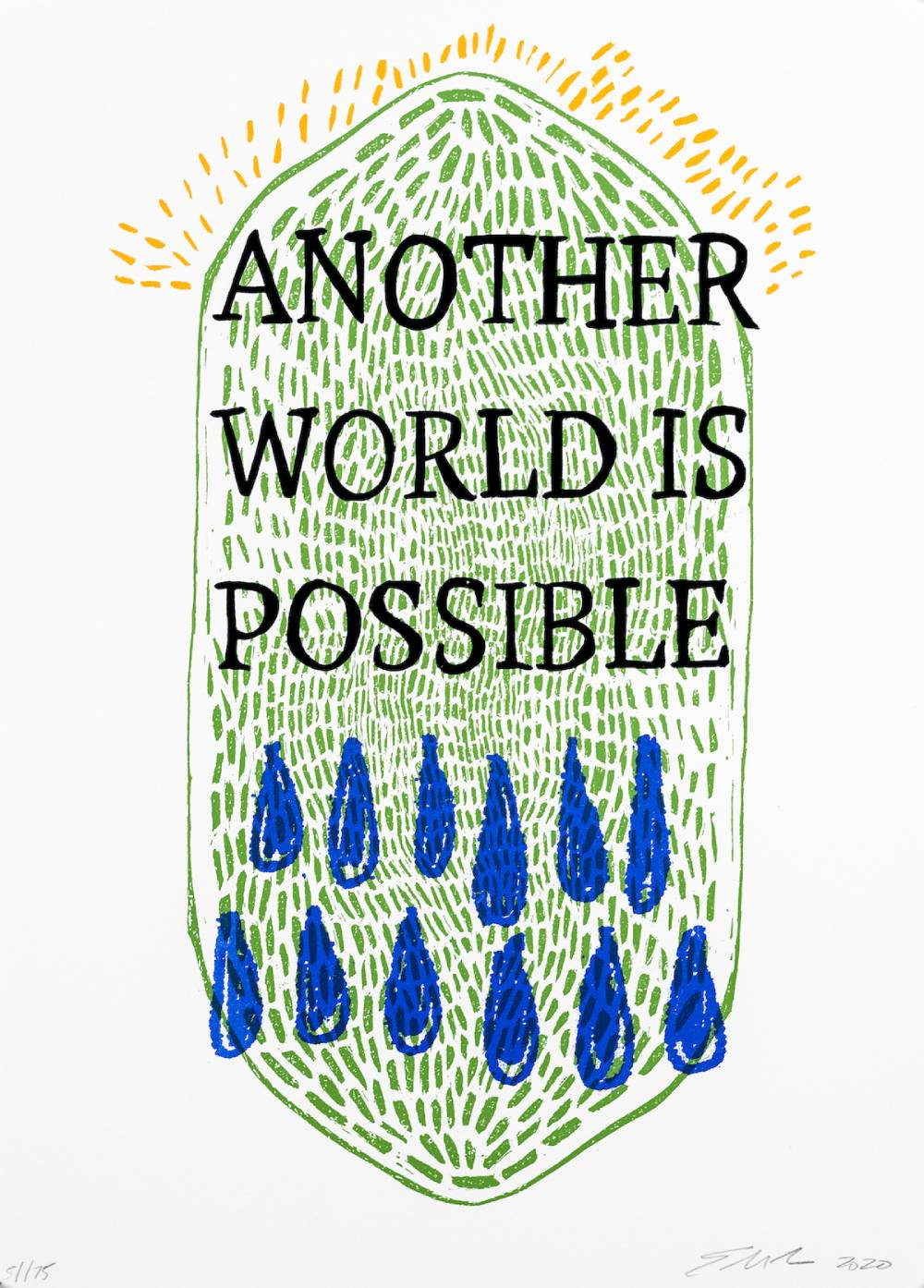 Another World Is Possible, 2019, screen print on paper, 11 x 14 inches