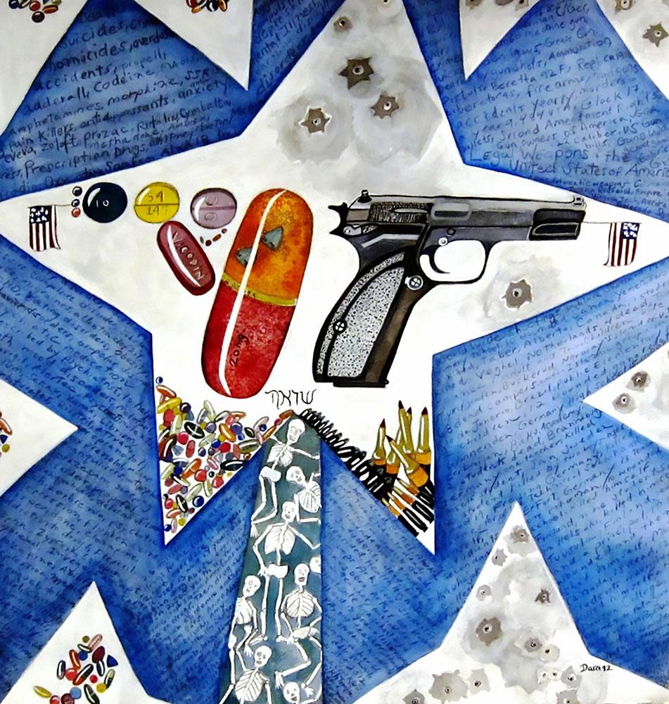 Guns and Pills, 22″x 22″ watercolor,  2013